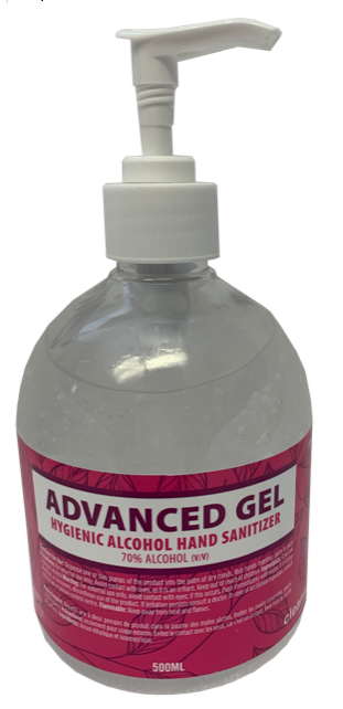 HAND SANITIZER - GEL 4 X 500ML PUMP BOTTLE 70% ALCOHOL