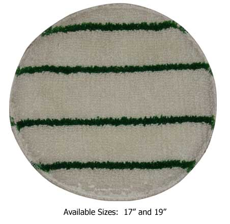 "CARPET BONNET - 17"" WHITE W/GREEN STRIPE EACH."