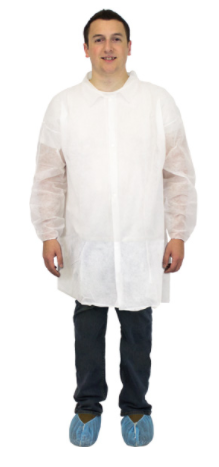 LAB COAT - WHITE MEDIUM POLY W/ ELASTIC WRISTS 30/CASE