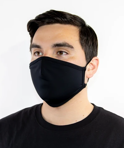 FACE MASK - BLACK, REUSABLE  CLOTH EACH WITH ADJUSTABLE